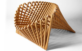 Robert Van Embricqs, Bamboo chair, sculptural chair, Rising Chair, Flatpack design, wooden seat, Dutch design
