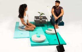 Karl Frederik Scholz, Michal Blutrich, stackable furniture system, Pile, multifunctional furniture, long lamp, colorful cushions, relaxation furniture