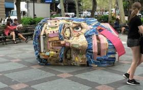 tribeca, tribeca park, installation art, nicholas holiber, head of goliath