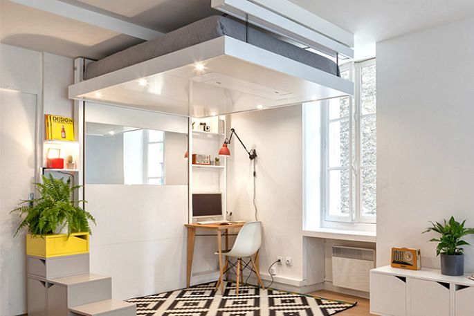 BedUP Frees Up Your Floor Space By Storing Your Bed on the Ceiling