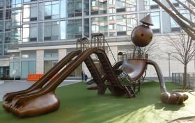 tom otterness playground, midtown wets playground, urban playgrounds, city playgrounds, playgrounds