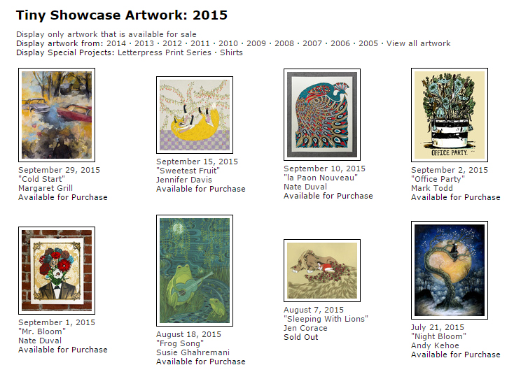 Tiny Showcase, affordable art