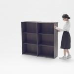 nedo shelving unit, Nendo, carbon fibre shelving, expanding bookshelf