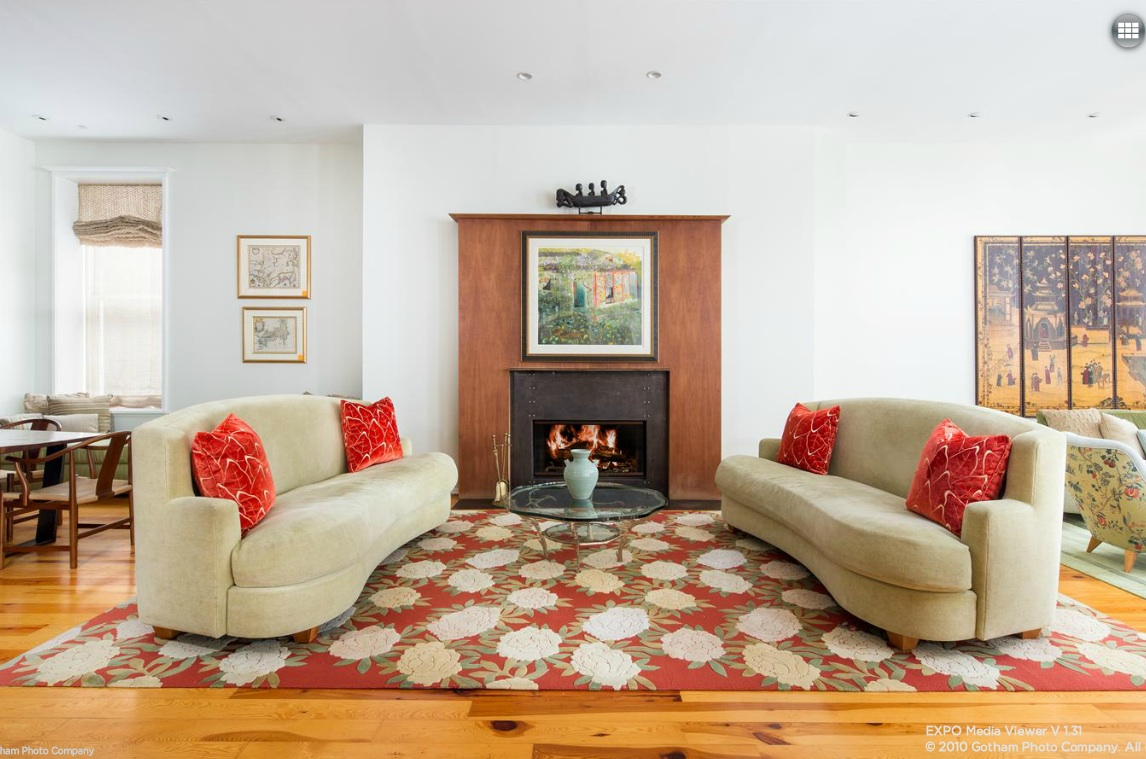 158 mercer street, living room, fireplace
