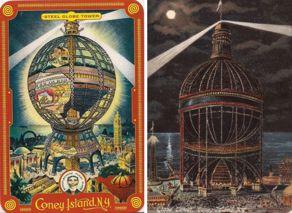 Coney Island Globe Tower, never-built NYC, Coney Island history, Samuel Friede