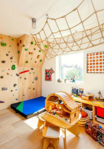 brooklyn townhouse with rock climbing wall