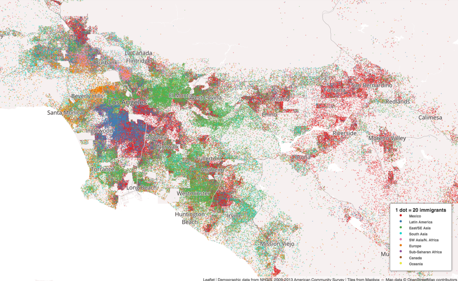 Colorful Dot Maps Paint a Picture of Immigration in the US 6sqft