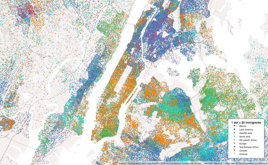 colorful dot maps paint a picture of immigration in the u s