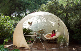 garden igloo, geodesic dome, outdoor oasis, greenhouse