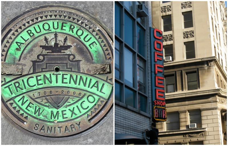 manhole, albuquerque new mexico, nyc, coffee shop, coffee bar sign, neon sign