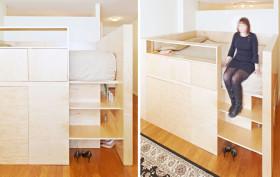 battery park studio, room divider and bed, Jordan Parnass Digital Architecture