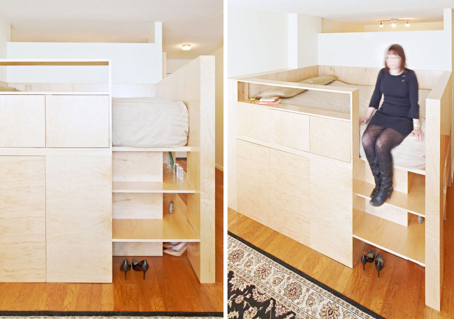 Clever Room Divider by Jordan Parnass Triples as Queen Sized Bed and