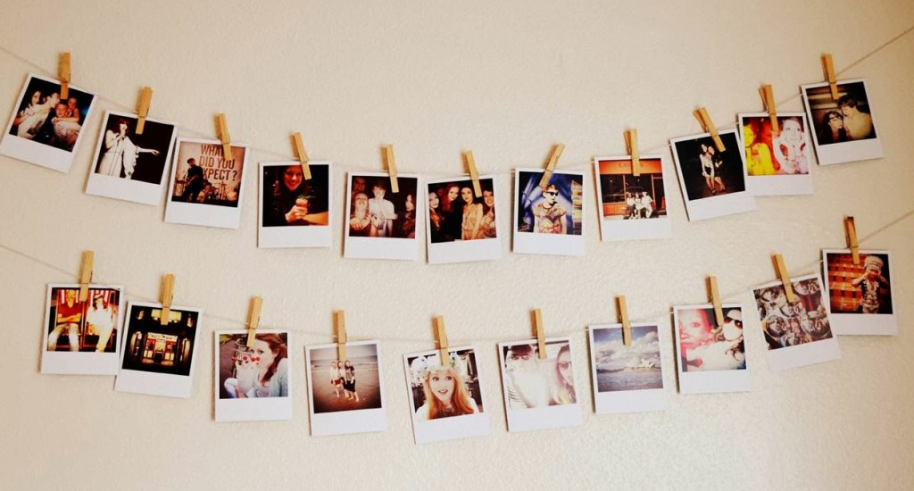 Photos hanging on a string