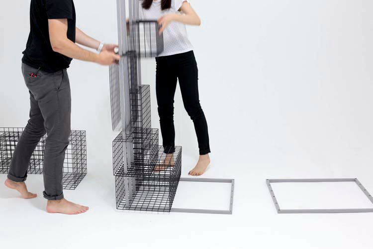 Ying Chang, Modular Mesh Desk, Grid System, Royal College of Art, plug-in furniture, multifunctional desk, 2 dimensional grid system, Josef Müller-Brockmann, Wim Crouwel