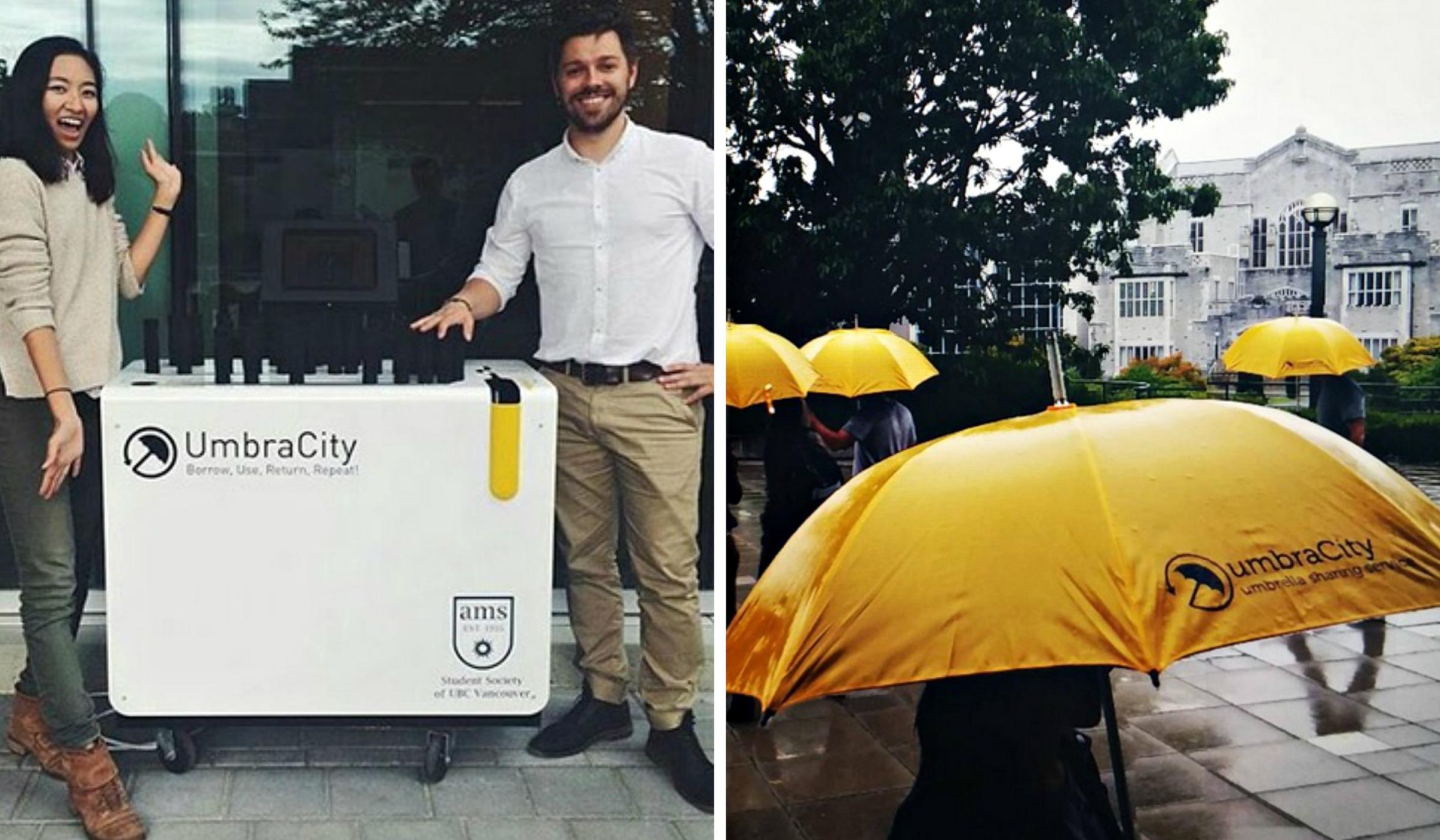UmbraCity, umbrella share program, rental umbrellas