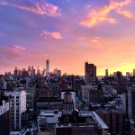 Manhattan sunsets, New York SKyline, NYC archtitecture