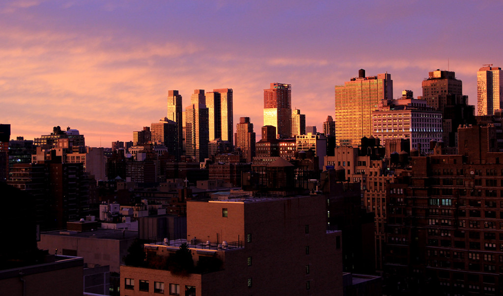 Manhattan Autumn Sunset, Skyline Silver Towers, Atelier, Midtown West Far West Side
