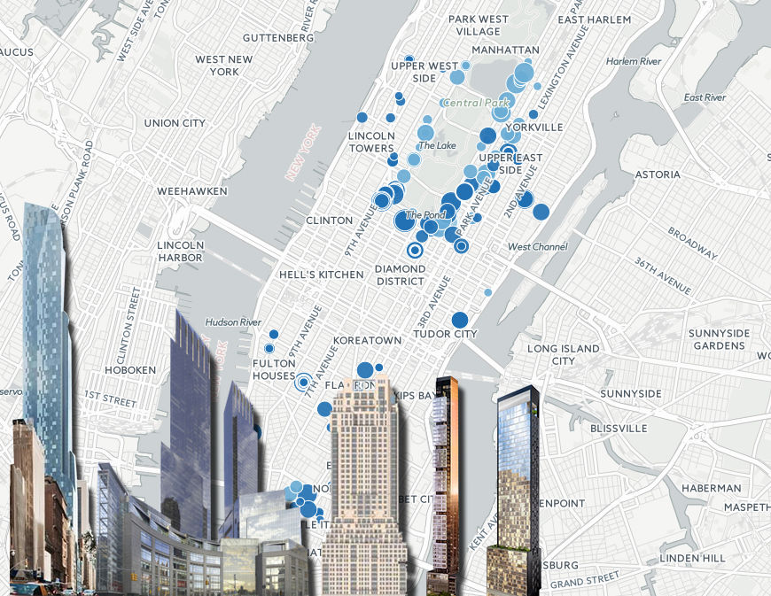 NYC Dominates the Country in 10 Million Sales See Them All on – Manhattan Interactive Map