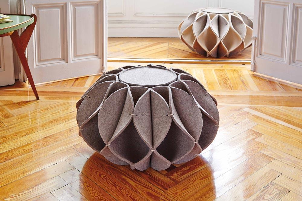 Romero Vallejo, felt seat, Ruff Pouf, GAN store, GANDIABLASCO, Ruff Pouf, Elizabethan era's inspiration, neck ruffles, geometric seats, ottoman seats,