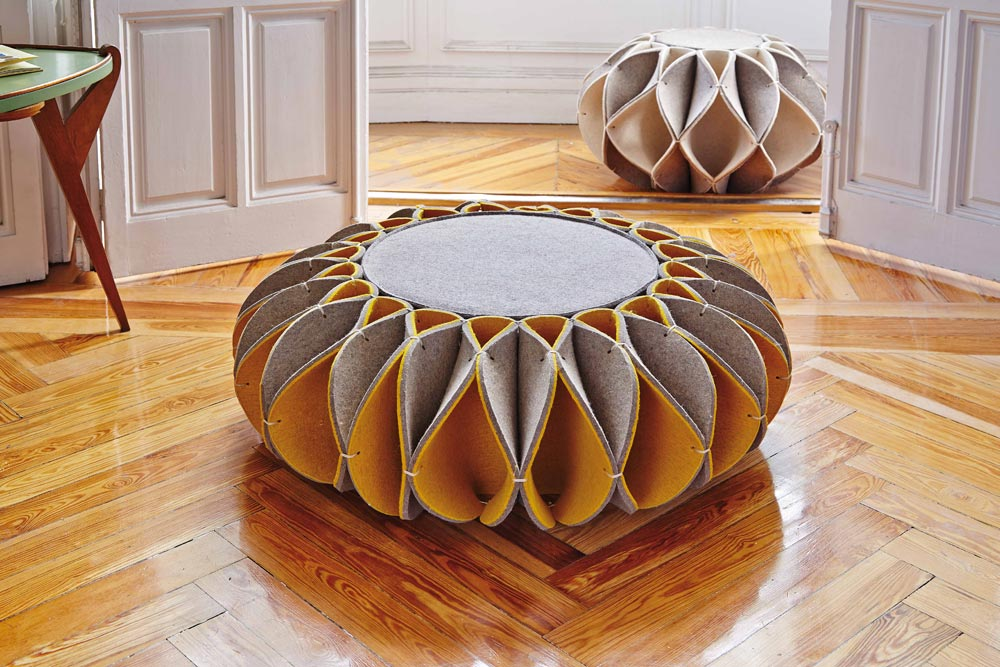 Stylish Felt Ottoman Takes Inspiration From Elizabethan Era Neck Ruffles