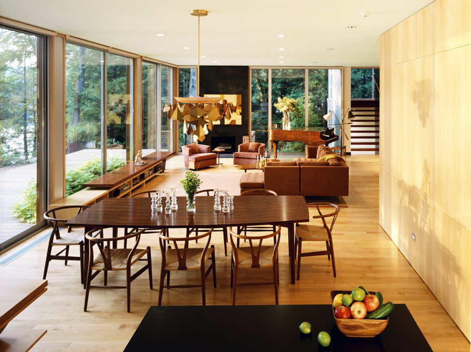 Resolution: 4 Architecture, Lakeside House, Sagamore Lake, white oak floors, woodland views, natural light, Kent, NY,