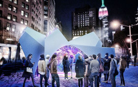 SOFTlab, Van Alen Institute, Flatiron Public Plaza Holiday Design Competition, Ron English, Joseph Gross Gallery, Stacy Leigh, Castor Gallery, Catinca Tabacaru, Hecker Leckey Sound Voice Chimera, MOMA PS1, Florian Hecker, Mark Leckey, Museum of Art and Design, Ebony G. Patterson