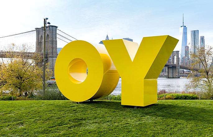 Deborah Kass, OY/YO, Brooklyn Bridge Park, NYC public art, Two Trees Management