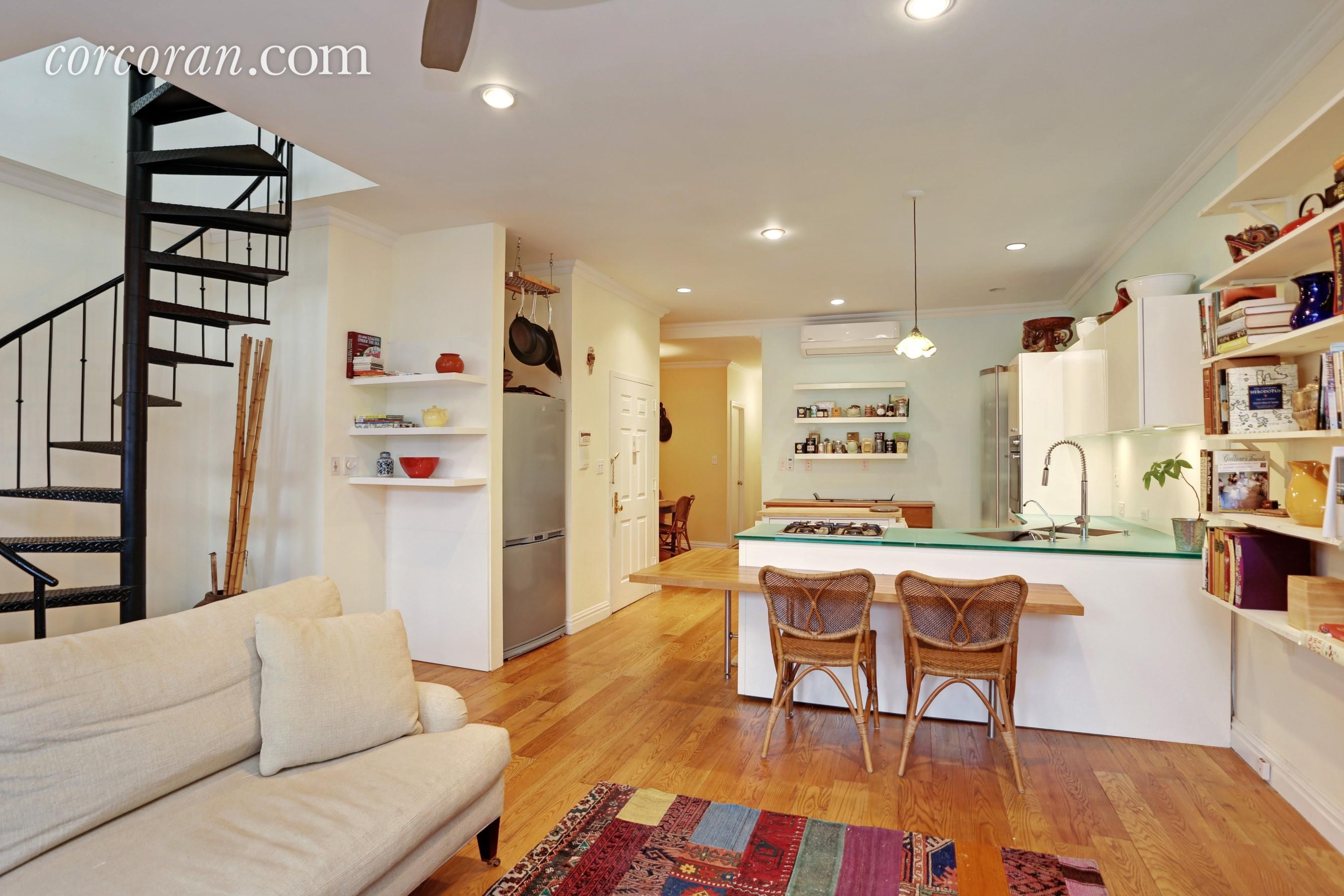 118 St. Marks Place, spiral staircase, duplex, kitchen, rental, park slope