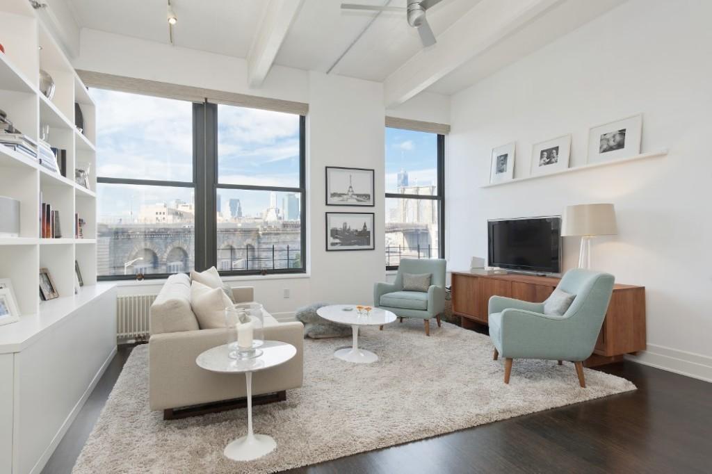 70 Washington Street, living room, dumbo, loft, windows