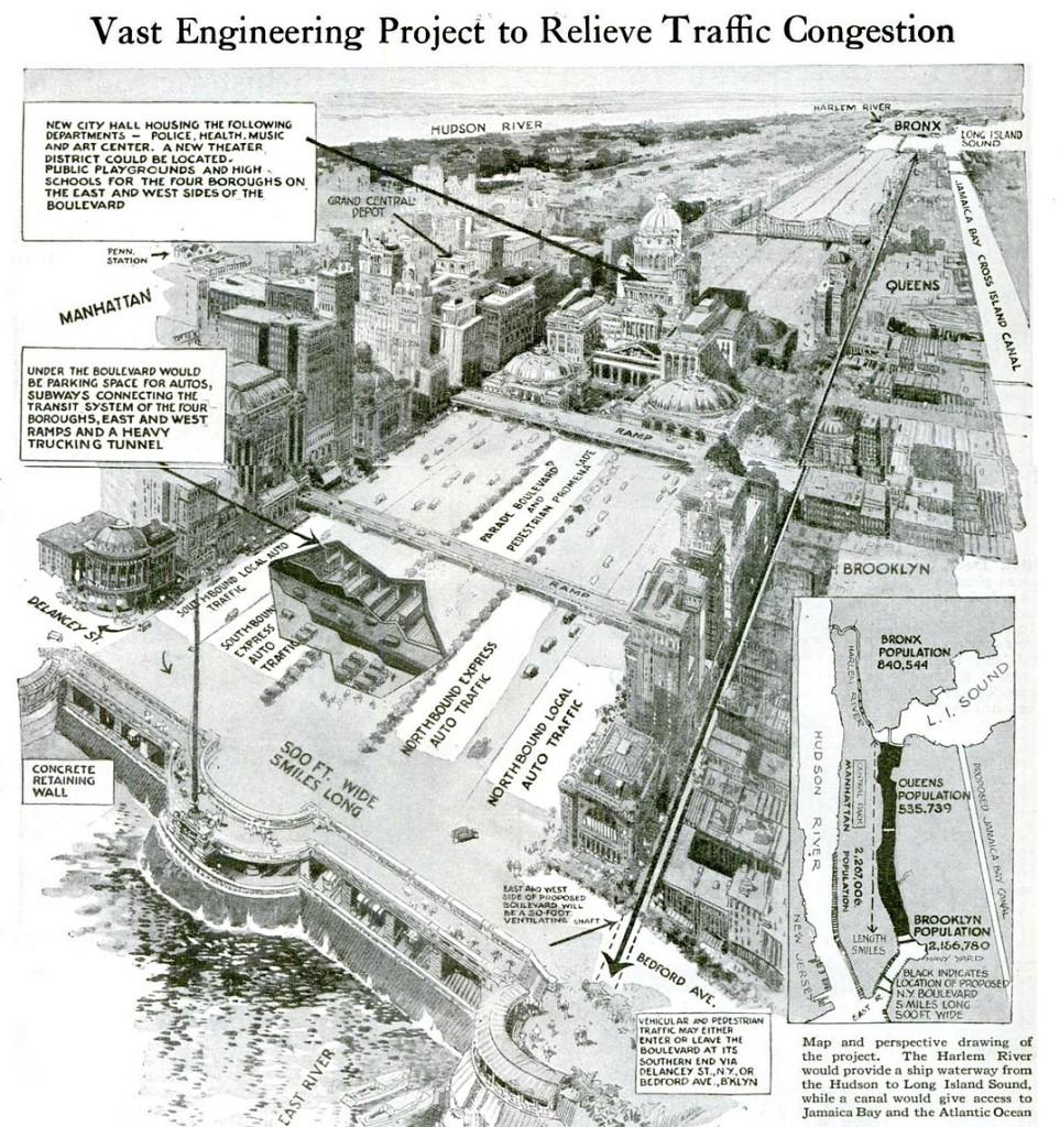 East River drainage plan, John A. Harris, Popular Science,