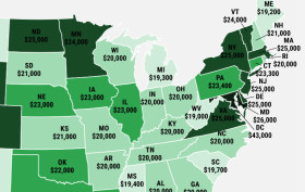 millennial median income USA map