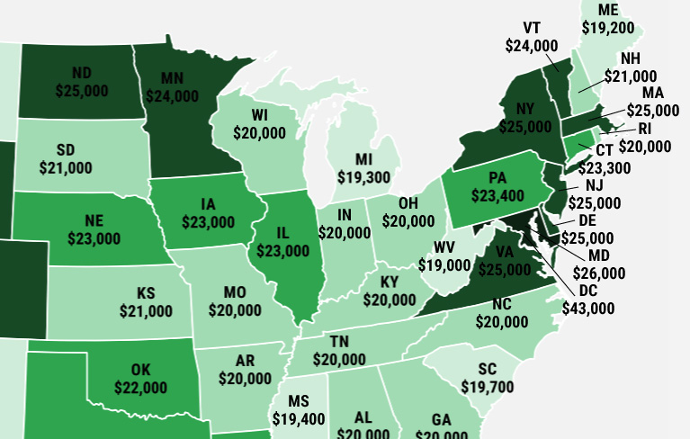Mapping the Depressing Annual Salaries of Millennials Across the