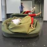 Hannah Ernsting, cuddly sofa, Moody Nest, Frankfurt, German design, hibernating furniture, soft design, warm design, sofa, pouf, blanket,