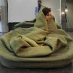 Hannah Ernsting, cuddly sofa, Moody Nest, Frankfurt, German design, hibernating furniture, soft design, warm design, sofa, pouf, blanket,