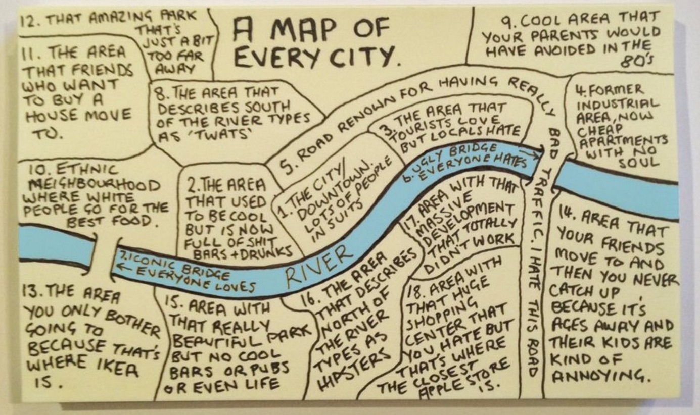 this map of every city penned by chaz hutton via big think supplies us with a bite sized answer to the question we ve probably all asked at one time or