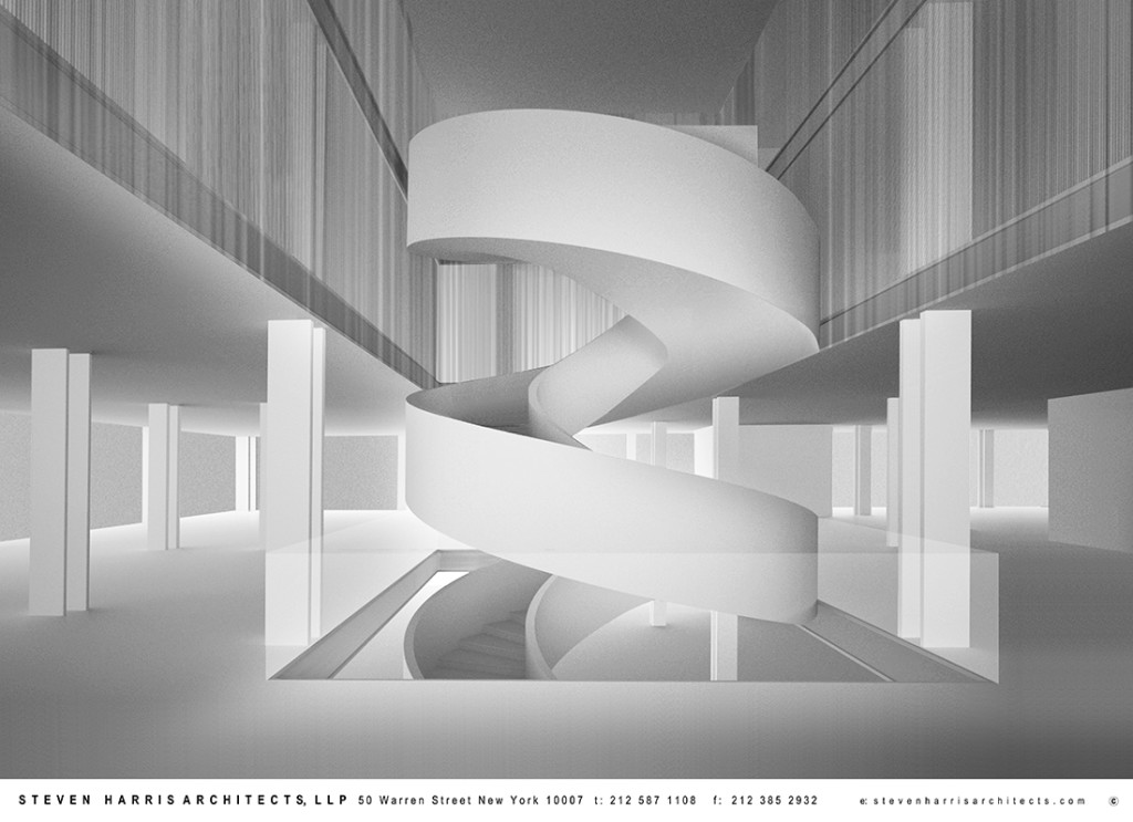 Rendering of spiral staircase for Barneys' Chelsea flagship by Steven Harris Architects