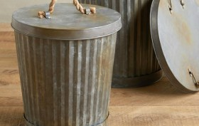 West Village Corrugated Can, Anthropologie, ash can, expensive trash cans