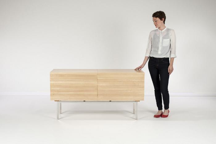 Sebastian Errazuriz, wooden chest, Mahogani Explosion, Maple wood, explosive design, wooden chest, transformable furniture