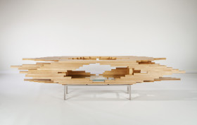 Sebastian Errazuriz, wooden chest, Mahogani Explosion, Maple wood, explosive design, wooden chest, transformable furniture