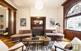 857 Carroll Street, living room, fireplace, Park Slope townhouse, matthew blesso