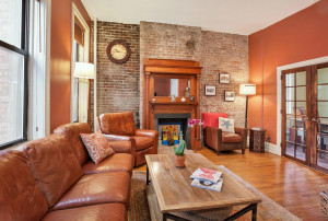 13 downing street, living room, fireplace, co-op, greenwich village