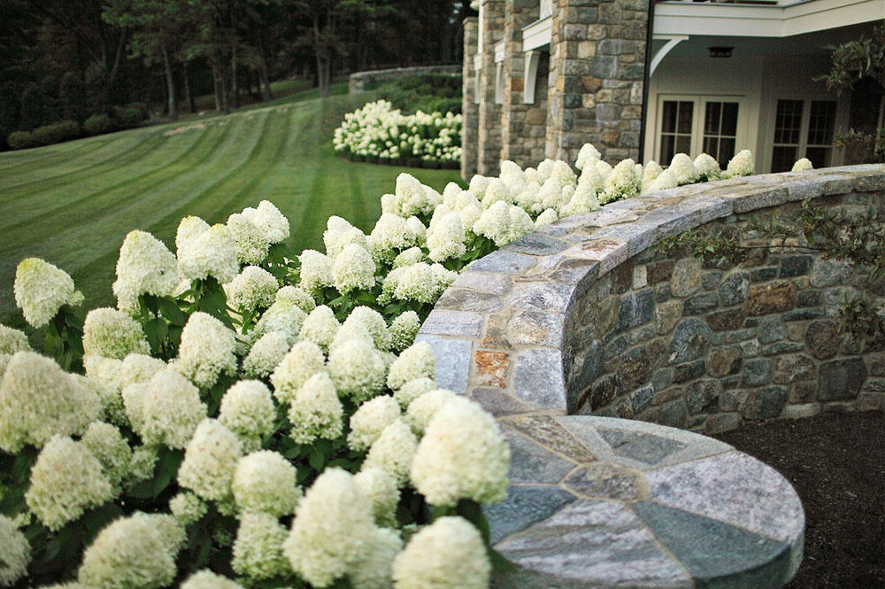 Janice Parker Landscape Architects, majestic home, Hudson River Estate, Edible Gardens, Hudson River, Creeping Thymus, NYC aqueduct, fountain,