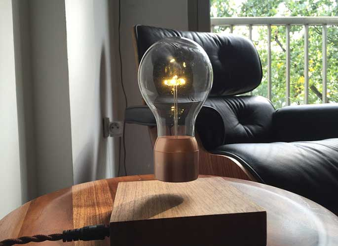 Simon Morris, levitating light bulb, Flyte, LED Light, floating light bulb, anti-gravity, Tesla, FSC wood