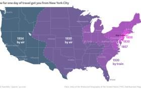 NYC historic travel map, Quartz