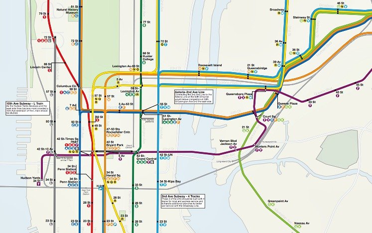 dream subway map includes a 10th avenue subway and a path to staten island