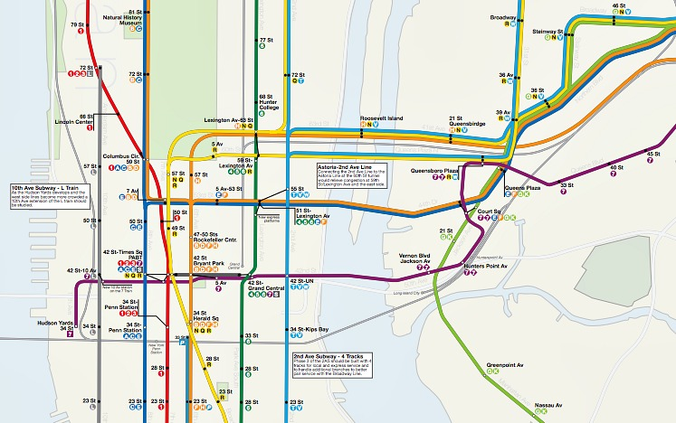 New Second Ave Subway Map.Dream Subway Map Includes A 10th Avenue Subway And A Path To Staten