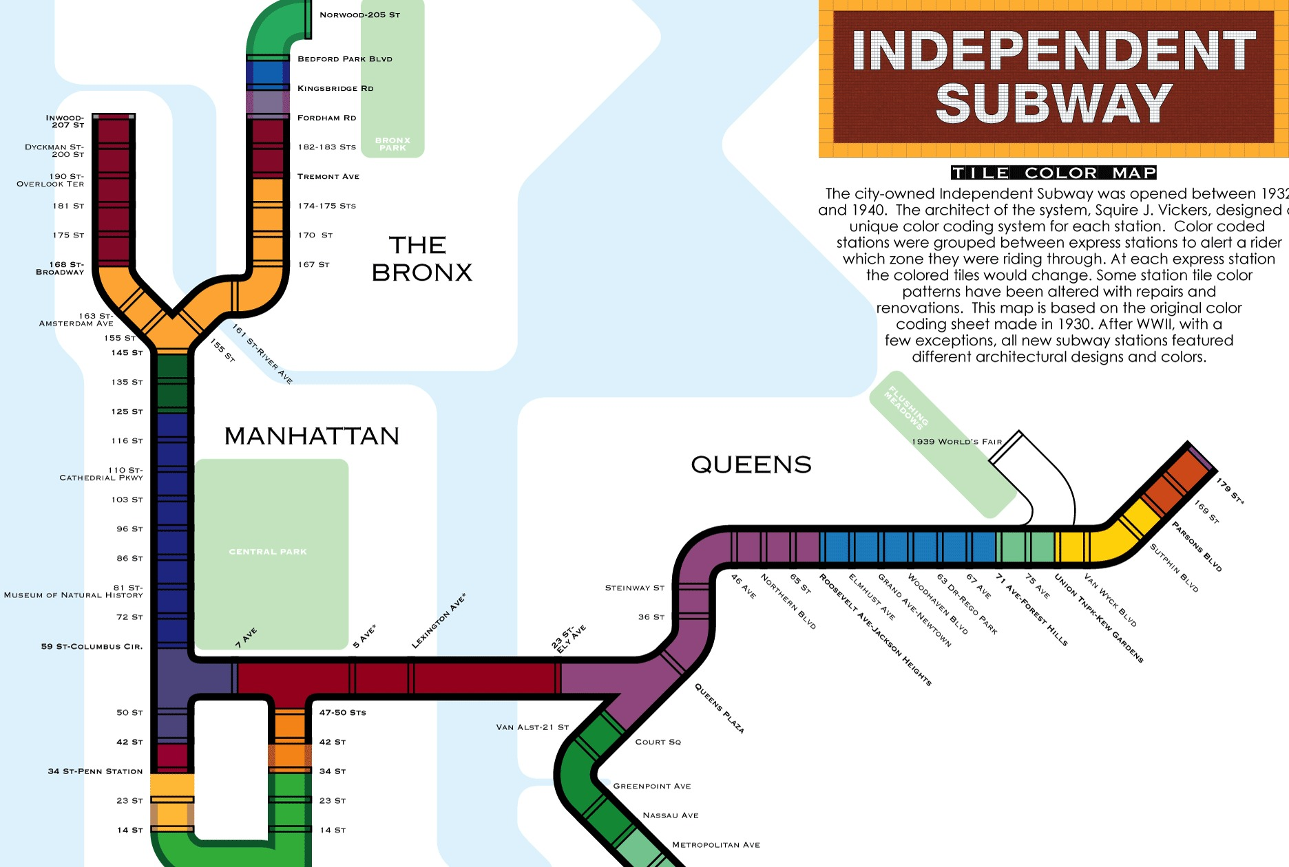 Nyc Subway Map Over Street Map.This Map Explains The Historic Tile Color System Used In Nyc Subway