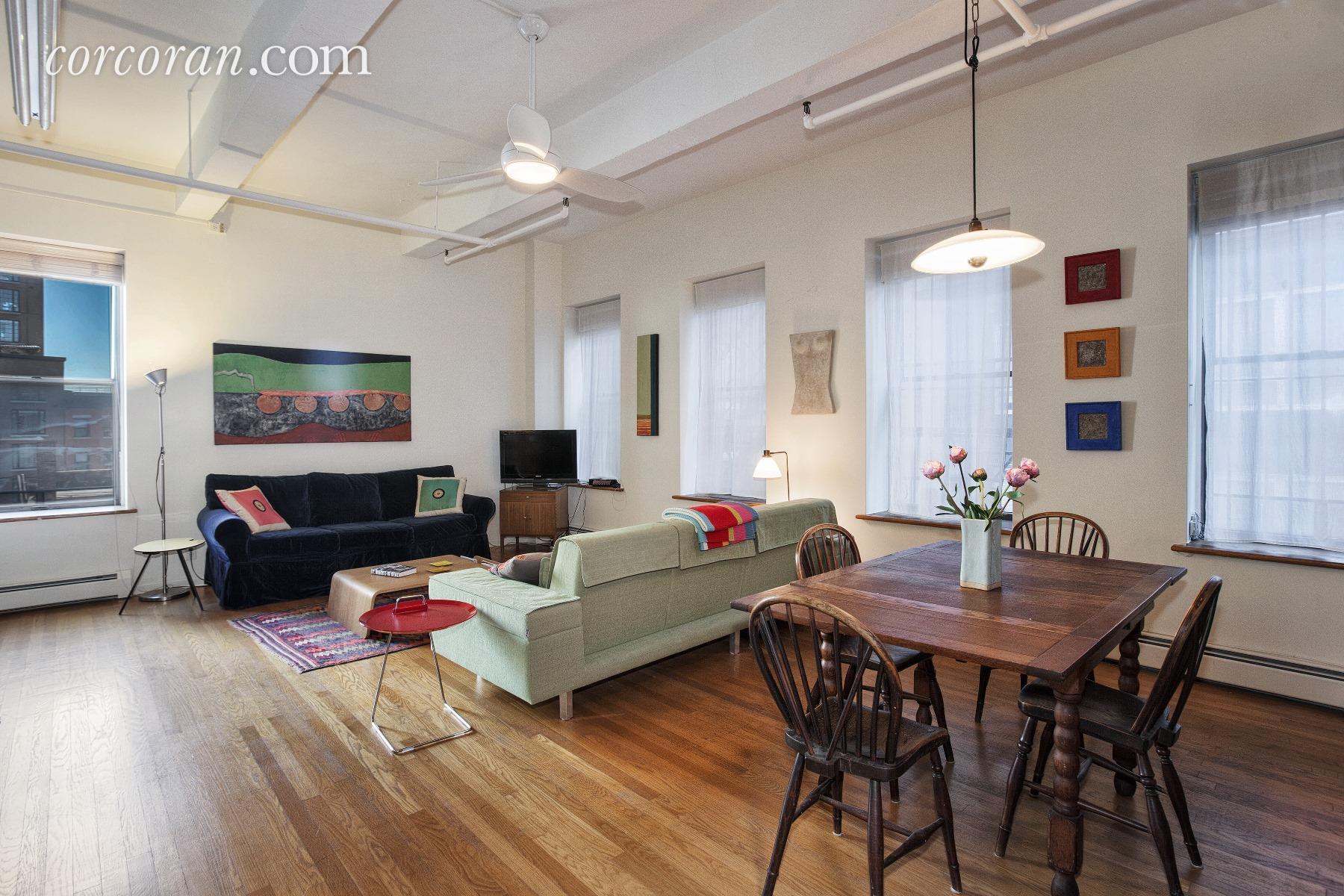 55 Great Jones Street, living room, loft, noho, co-op