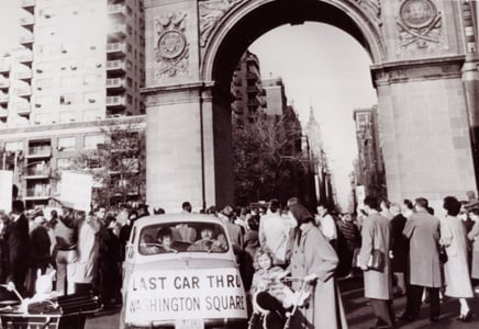 last car through washington square, GVSHP, Robert Moses, Greenwich Village history