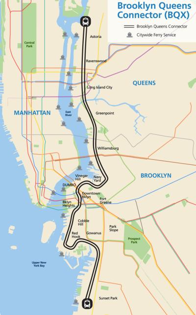 Brooklyn-Queens Streetcar map